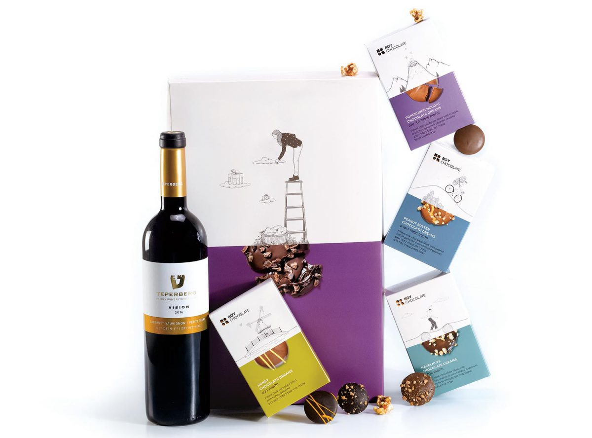 מארז שוקולד עם יין וחלומות
