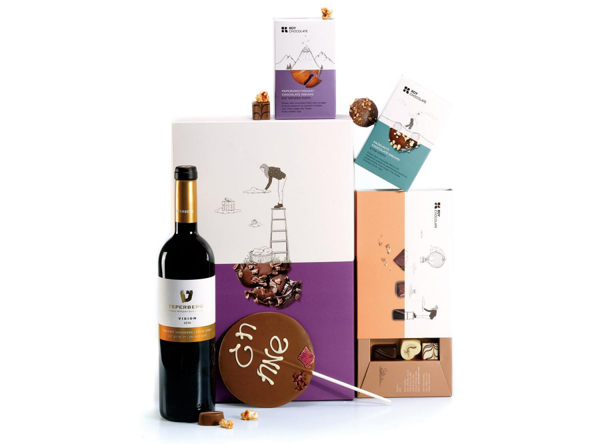 מארז שוקולד עם יין וחלומות לחג שמח