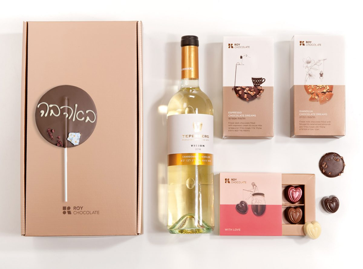 מארז שוקולד עם יין באהבה