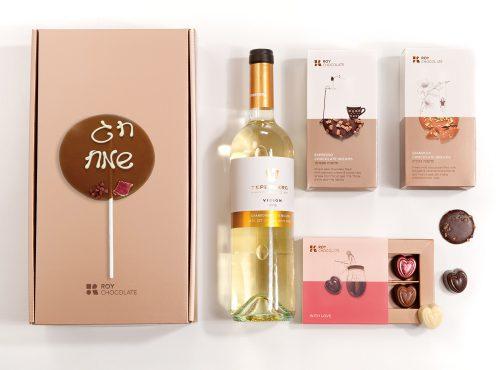 מארז שוקולד חג שמח עם יין