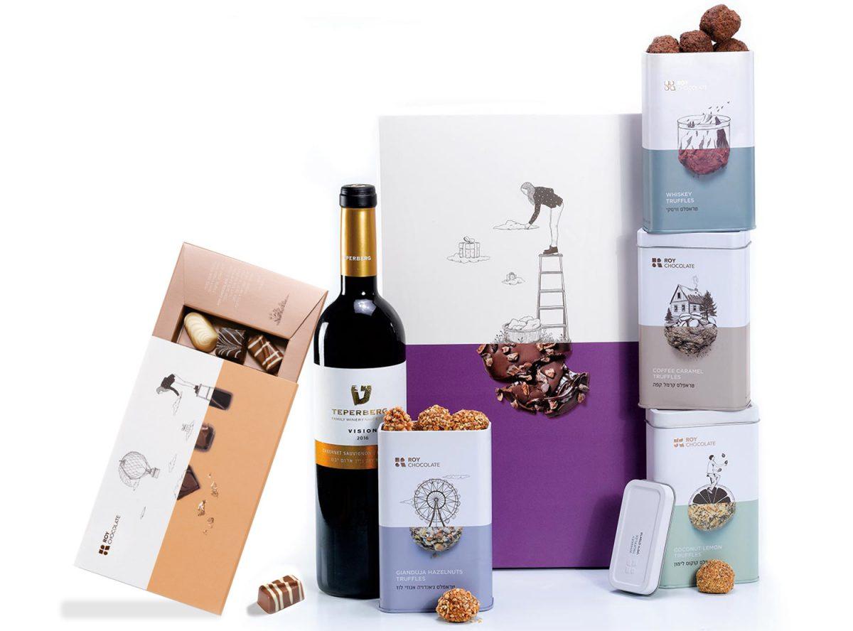 מארז שוקולד עם יין ופרלינים עם מילוי וטראפלס
