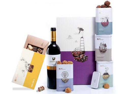 מארז שוקולד חגיגי עם יין