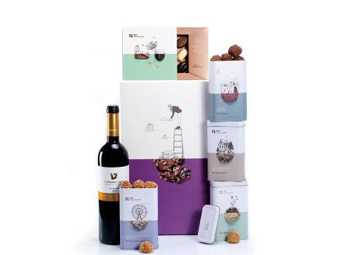 מארז שוקולד עם יין ופרלינים וטראפלס
