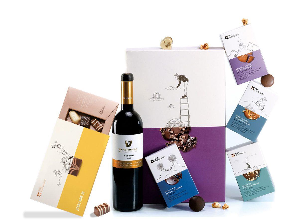 מארז שוקולד חגיגי עם יין ופרלינים