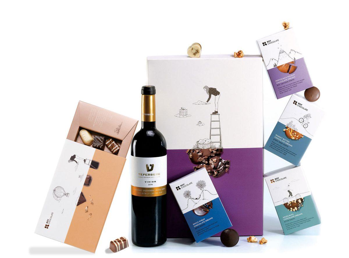 מארז שוקולד עם יין ופרלינים במילויים מפתים