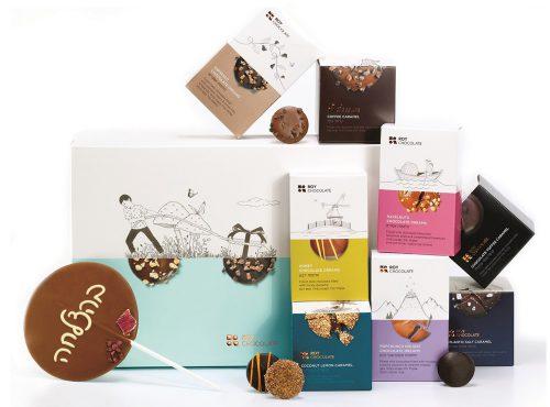 מארז שוקולד עם סוכריה וכיתוב בהצלחה