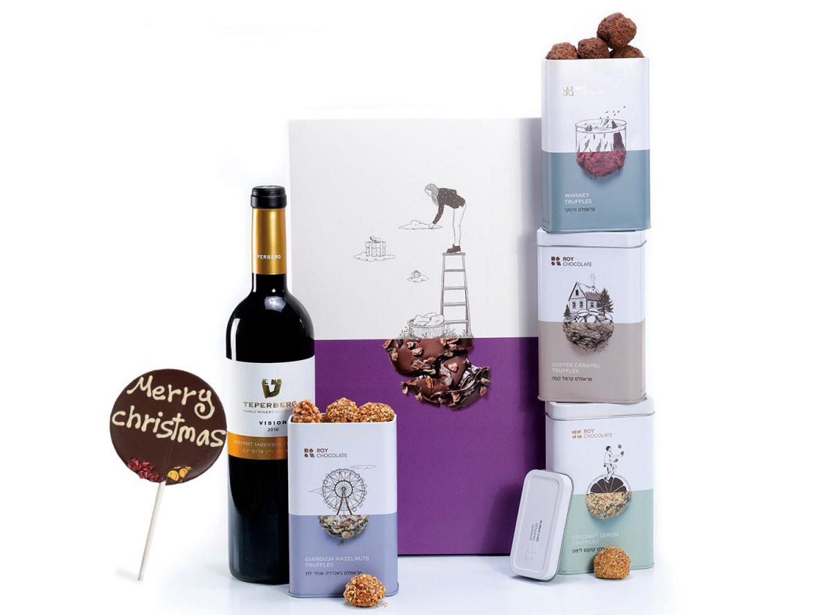 מארז שוקולד עם יין לכריסמס