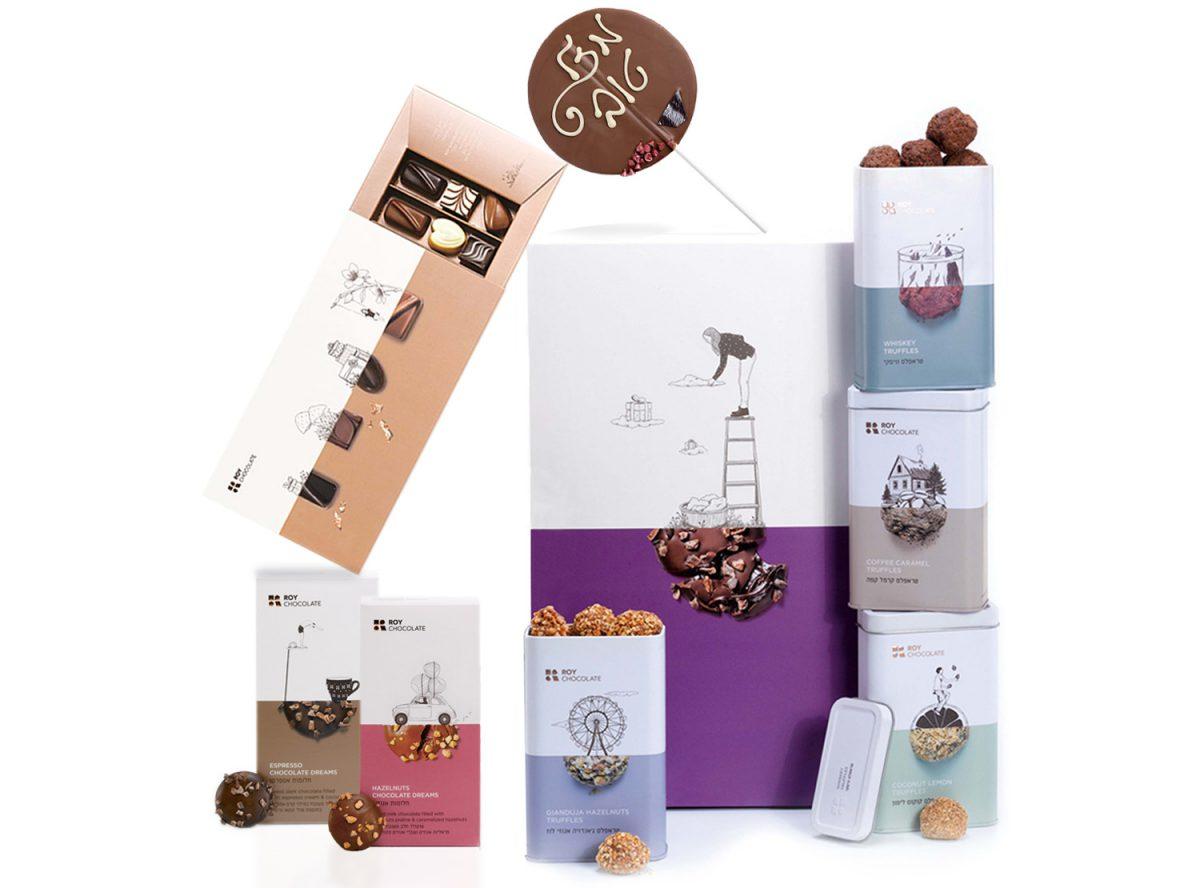 מארז שוקולד מזל טוב עם סוכריה וטראפלס
