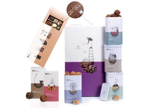 מארז שוקולד באהבה עם סוכריה ופרלינים